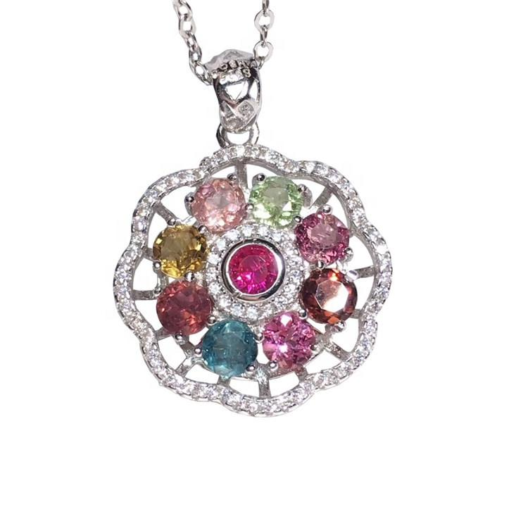 Customized design Natural  Colourful Tourmaline Pendant flower shape Jewelry