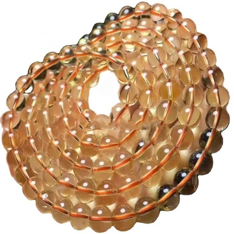 Handmade Citrine round Beads Necklace jewellery