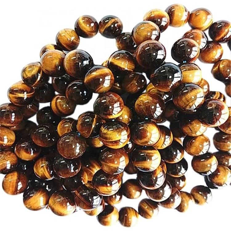 Natural Yellow tiger eye bracelet Round shape beads Smooth gemstone