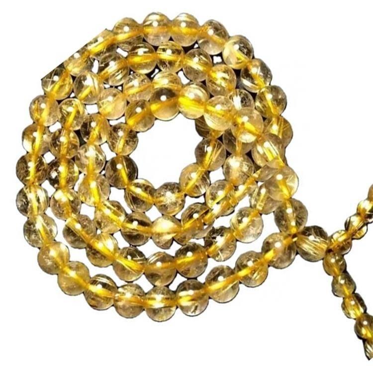 Golden Rutilated Quartz gemstone round beads necklace jewellery