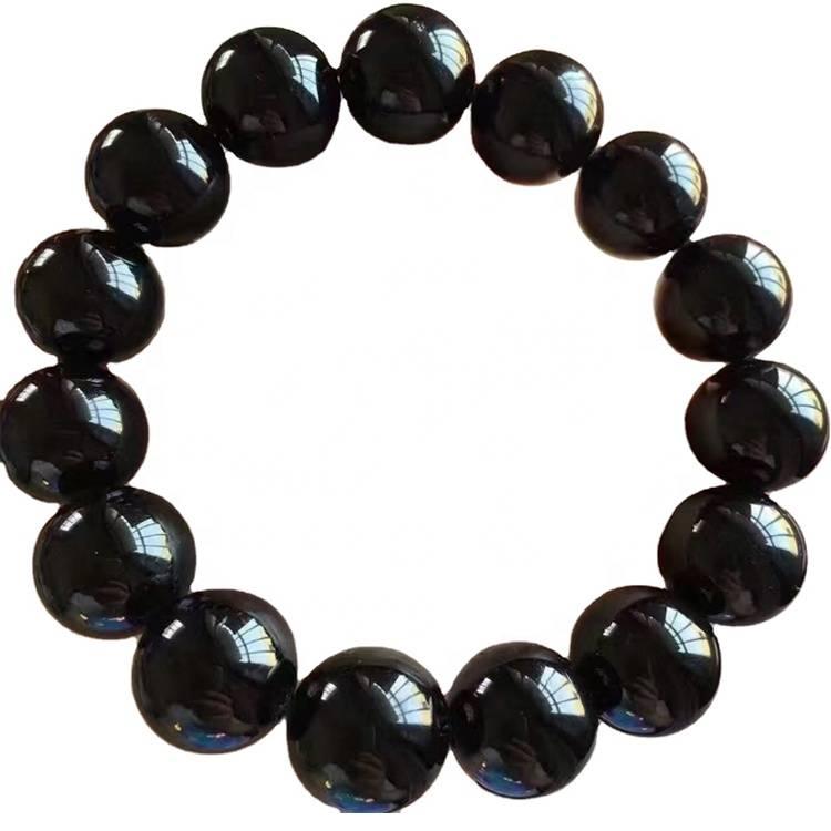 Natural black Tourmaline round Beads Bracelet Rubellite fashionable women's Customizable bracelet