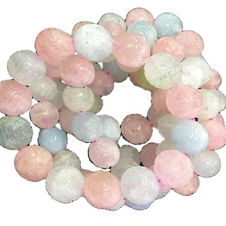 gemstone Morganite carved round beads bangles jewellery
