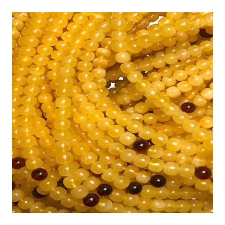 Wholesale 8mm String Yellow Amber beeswax Round Gemstone Beads  1strand 40cm jewelry