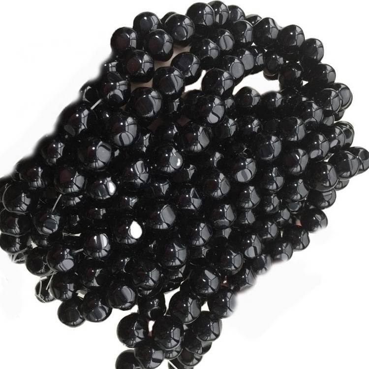 Genuine Natural Black Agate Loose Beads Micro Faceted Round Shape
