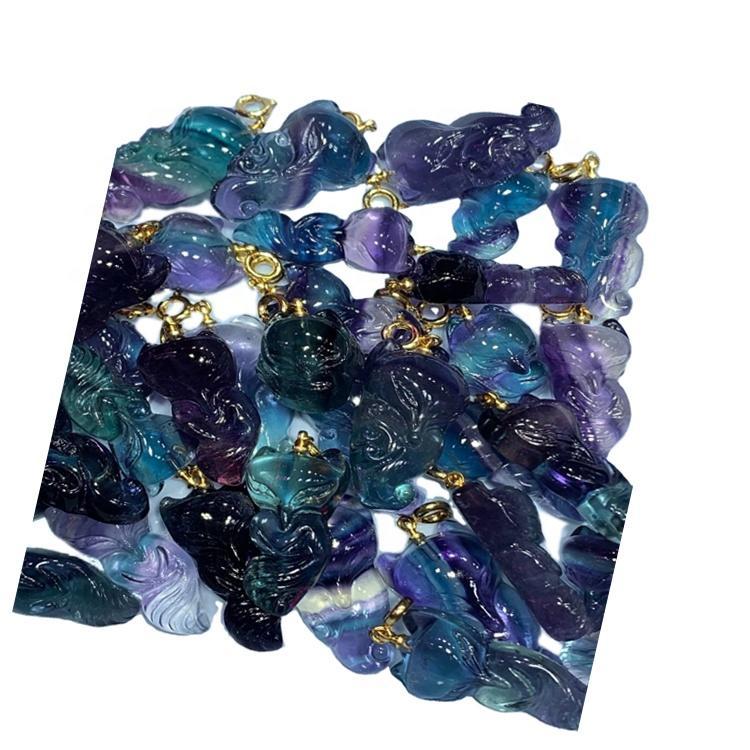 Fluorite carved gem fox shape pendant/Gold plated pendant/Fluorite pendant