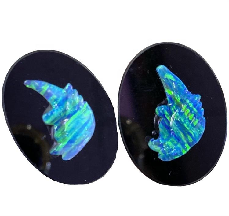 Natural Australian Doublet Opal Gemstone Loose Cabochon oval Shape Beautiful Quality