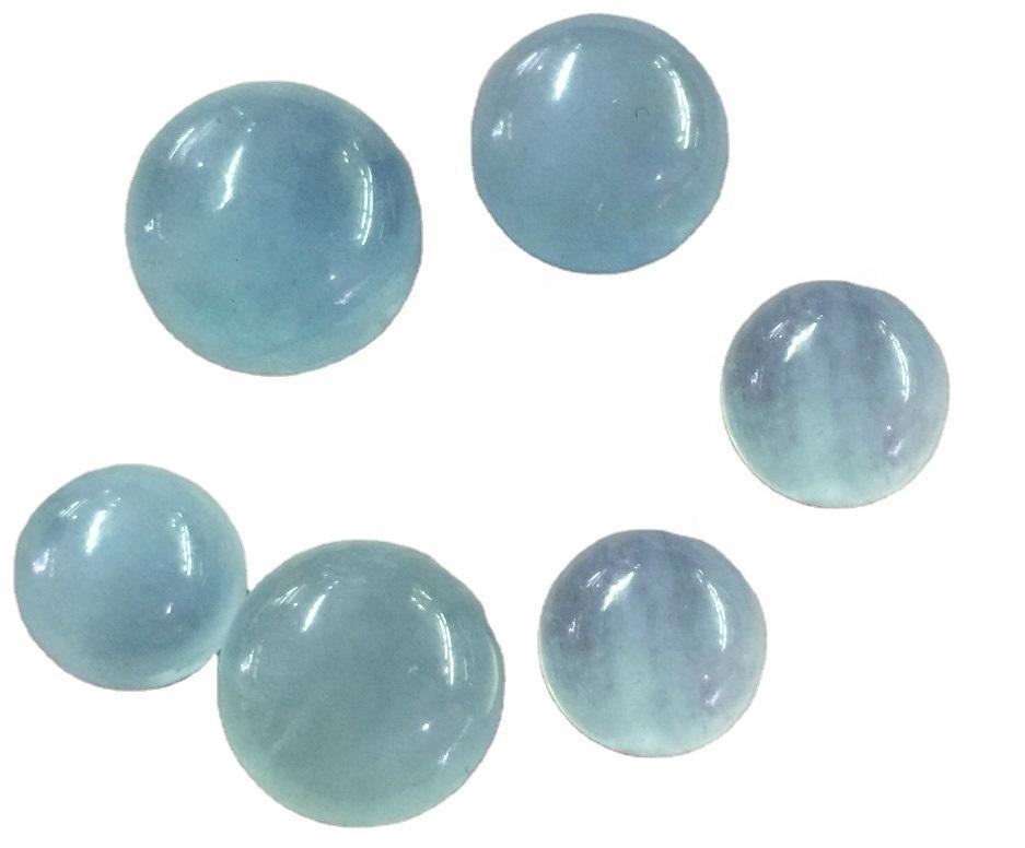 Aquamarine Cabochon Loose Gemstone Oval Shape Blue Aquamarine Round Shape Cabochon