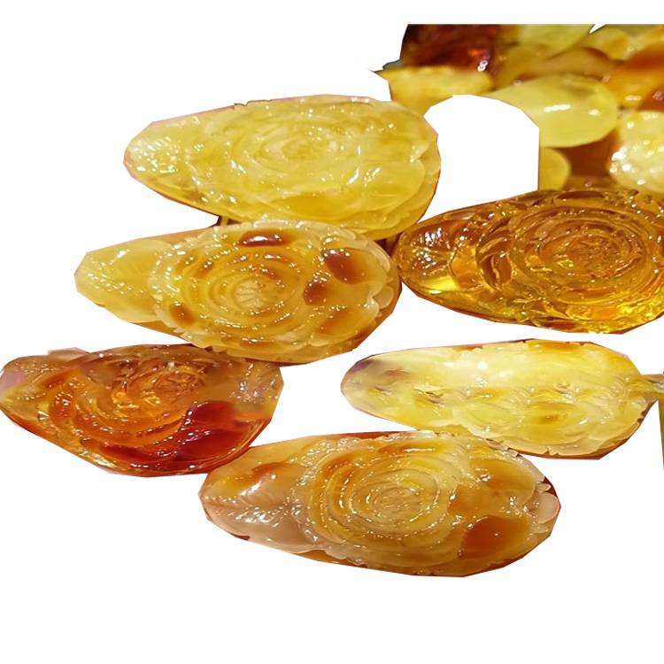 Natural Amber Leaves Handmade Rose Carving Cognac Color Amber Carving Jewelry