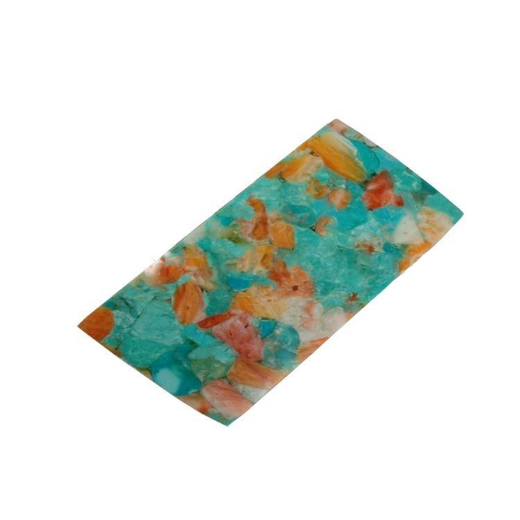 Turquoise And Pink Opal Compressed Rectangle Cabochon For Making Jewelry