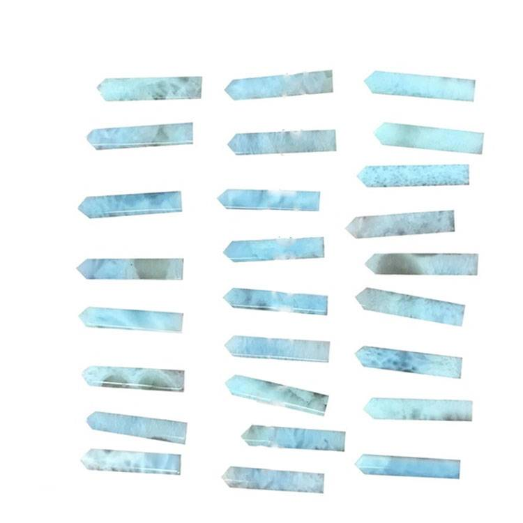 Natural Larimar long square column shaped cabochon polishing and smooth gemstone