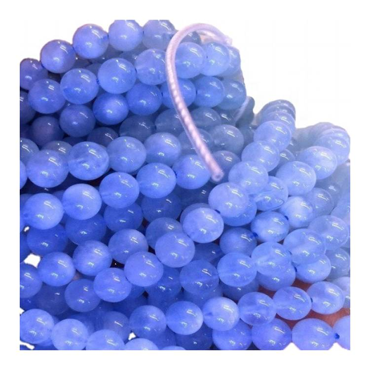 Blue Aquamarine Beads . Round Natural Gemstone Loose Beads. Sold by 16 Inch Strand. Size 6mm 8mm 10mm 12mm